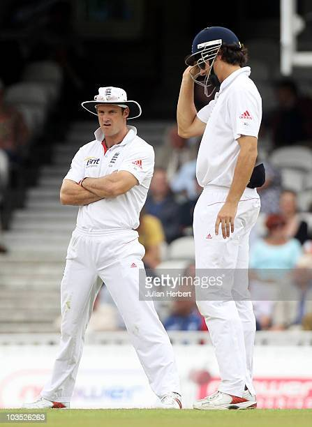 Andrew Strauss of England looks dejected with Alastair Cook during day four of the npower 3rd Test Match between England and Pakistan at The Brit...