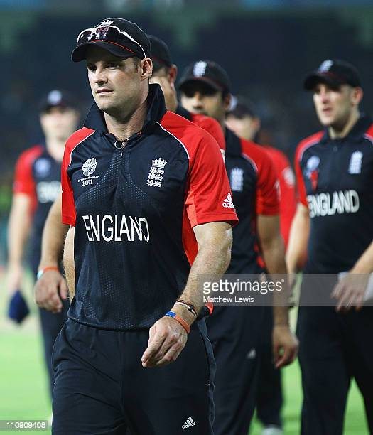 Andrew Strauss of England looks on as he leads his team off the filed after they lost to Sri Lanka during the 2011 ICC World Cup Quarter Final match...