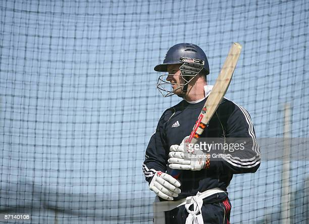 Andrew Strauss of England looks on during a net session at The Riverside on May 13 2009 in ChesterleStreet England