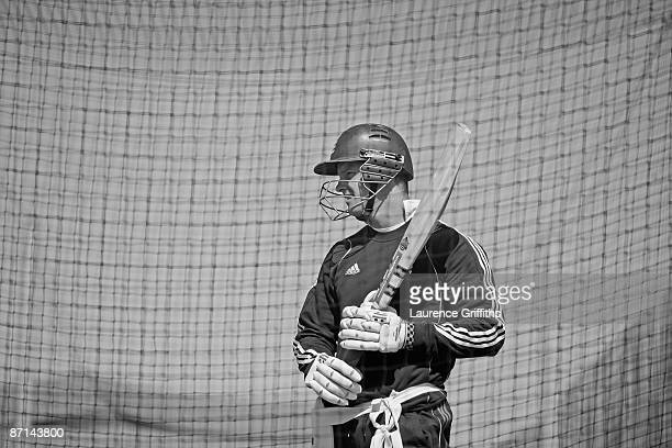 Andrew Strauss of England looks on during net practice at The Riverside on May 13 2009 in ChesterleStreet England