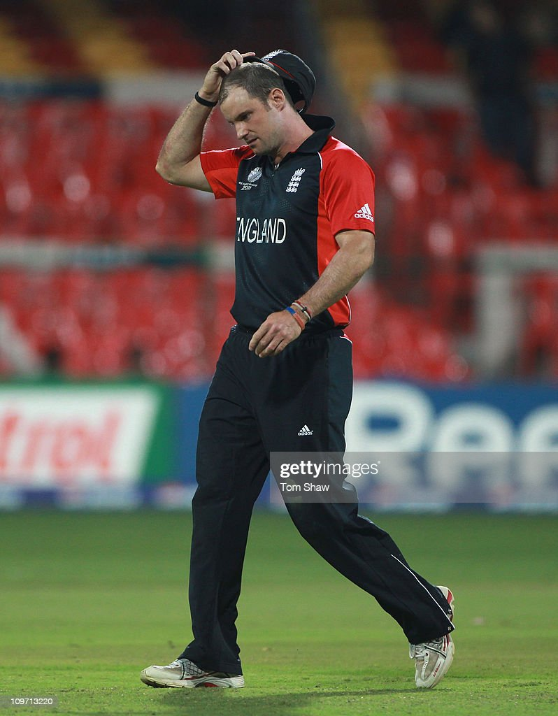 Andrew Strauss of England looks on during the 2011 ICC World Cup Group B match between England and Ireland at the M. Chinnaswamy Stadium on March 2, 2011 in Bangalore, India.