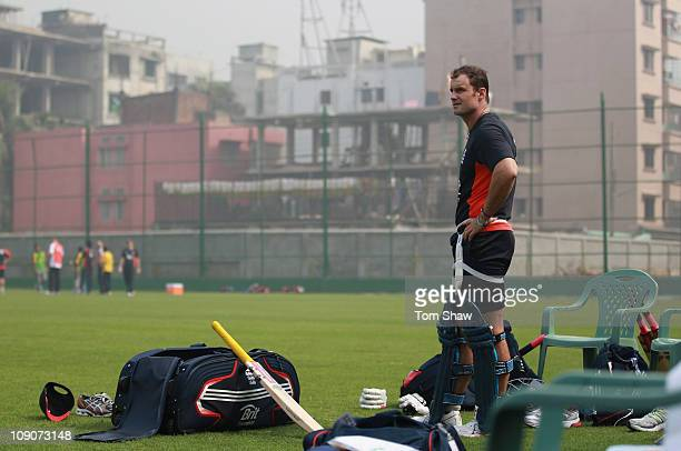 Andrew Strauss of England looks on during the England nets session at the Sher-e-Bangla Cricket Stadium on February 14, 2011 in Dhaka, Bangladesh.