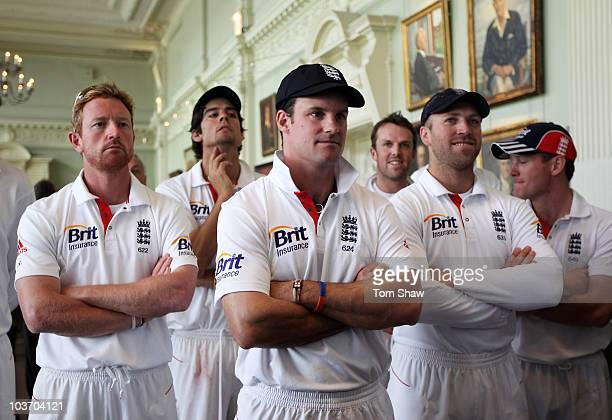 Andrew Strauss of England looks on with team mates during the presentation on day four of the 4th npower Test Match between England and Pakistan at...