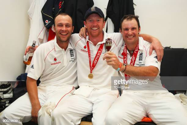 Andrew Strauss of England poses with Paul Collingwood and Jonathan Trott in the dressing room after day four of the npower 5th Ashes Test Match...