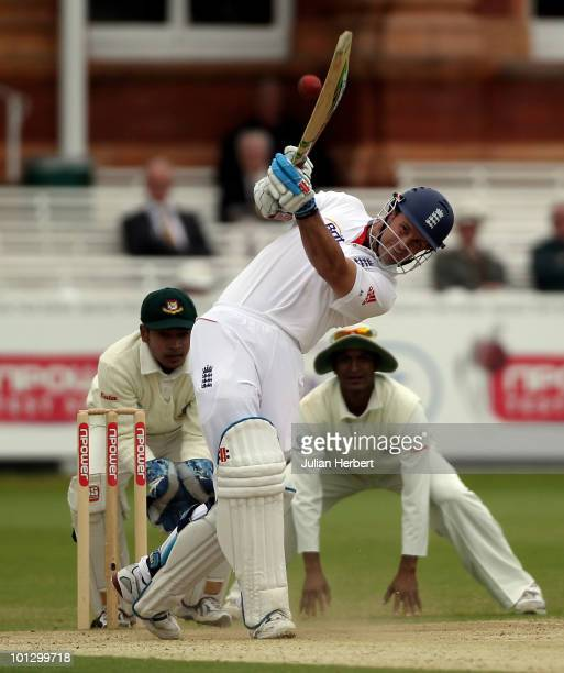 Andrew Strauss of England scores run on day five of the 1st npower Test between England and Bangladesh played at Lords on May 31 2010 in London...