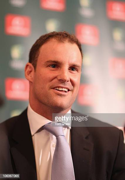 Andrew Strauss of England speaks to the media at the Hyatt Regency Hotel on October 30 2010 in Perth Australia The 201011 Ashes series between...