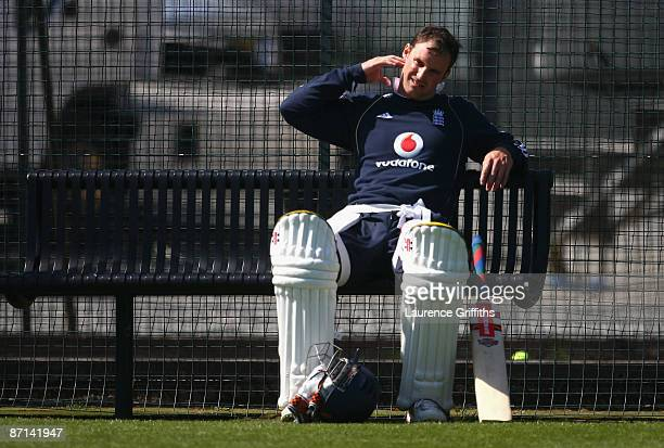 Andrew Strauss of England takes a breather during net practice at The Riverside on May 13 2009 in ChesterleStreet England