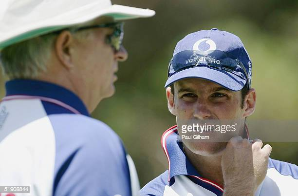 Andrew Strauss of England talks to coach Duncan Fletcher during a training session prior to the third Test Match between South Africa and England at...