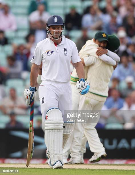 Andrew Strauss of England walks back after being dismissed by Mohammad Amir of Pakistan during day two of the npower 3rd Test Match between England...