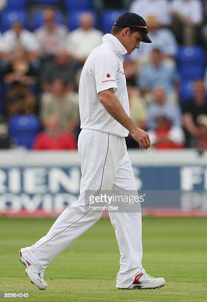 Andrew Strauss of England walks in the field during day three of the npower 1st Ashes Test Match between England and Australia at the SWALEC Stadium...