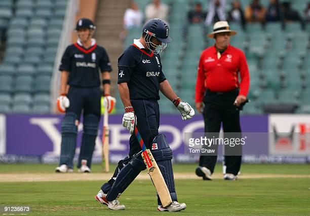Andrew Strauss of England walks off after his dismissal during the ICC Champions Trophy Group B match between England and New Zealand at Wanderers...