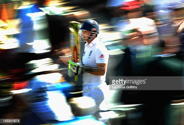 Andrew Strauss of England walks through the members on his way out to bat during the Second Investec Test Match between England and West Indies at...