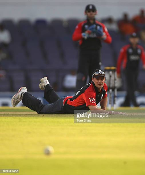 Andrew Strauss of England watches the ball go past him during the 2011 ICC World Cup Group B match between England v Netherlands at Vidarbha Cricket...