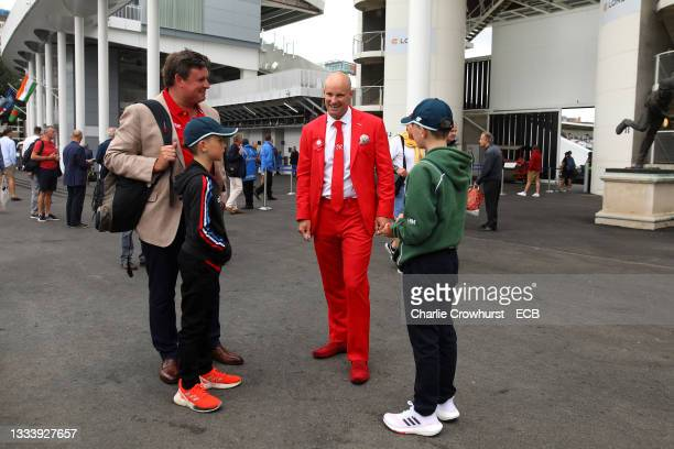 Andrew Strauss on #RedforRuth day during the Second LV= Insurance Test Match between England and India supporting the Ruth Strauss Foundation at...