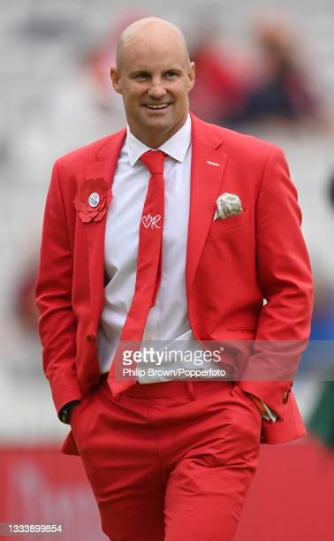 Andrew Strauss smiles before the second day of the 2nd LV= Test match between England and India at Lord's Cricket Ground on August 13, 2021 in...