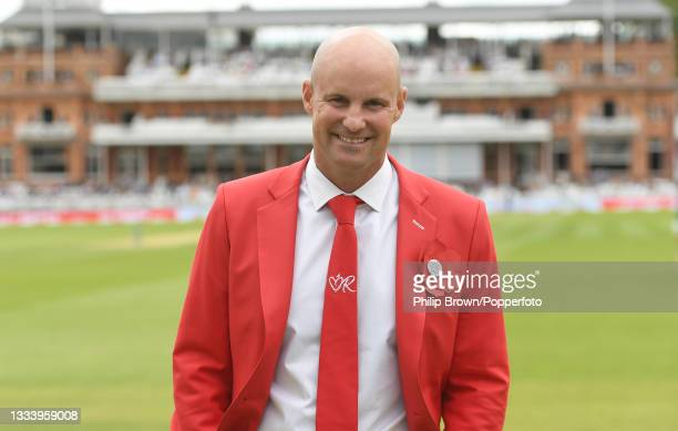 Andrew Strauss smiles during the tea break of the second day of the 2nd LV= Test match between England and India at Lord's Cricket Ground on August...