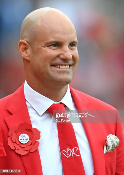 Andrew Strauss smiles on Ruth Strauss Foundation Day during day two of the Second Test Match between England and India at Lord's Cricket Ground on...