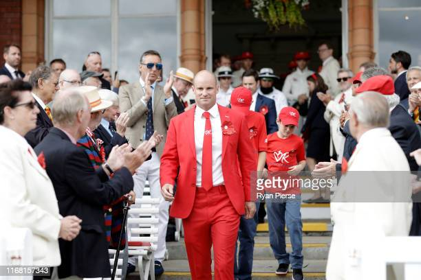 Andrew Strauss walks onto the field on Ruth Strauss Day during day two of the 2nd Specsavers Ashes Test between England and Australia at Lord's...