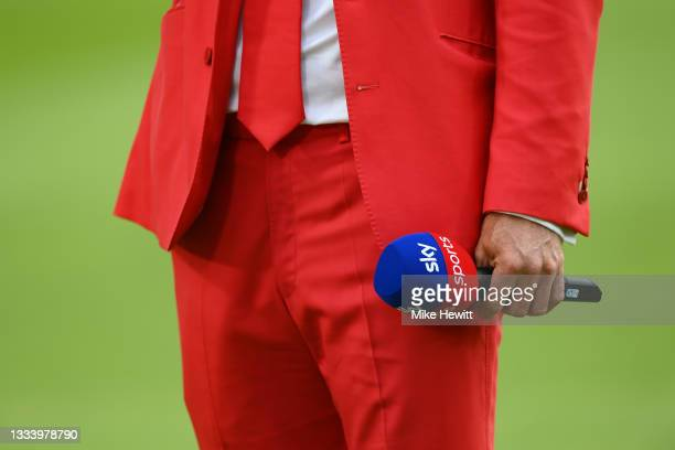 Andrew Strauss wears a red suit to promote the Ruth Strauss Foundation during the Second LV= Insurance Test Match: Day Two between England and India...