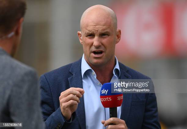 Andrew Strauss working for Sky television during the fourth day of the 1st LV= Test match between England and India at Trent Bridge on August 07,...