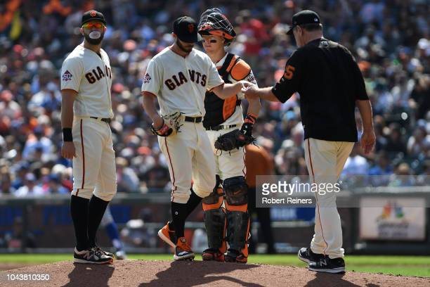 Andrew Suarez of the San Francisco Giants is pulled in the third inning during their MLB game against the Los Angeles Dodgers at ATT Park on...