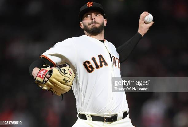 Andrew Suarez of the San Francisco Giants pitches against the Atlanta Braves in the top of the third inning at ATT Park on September 11 2018 in San...