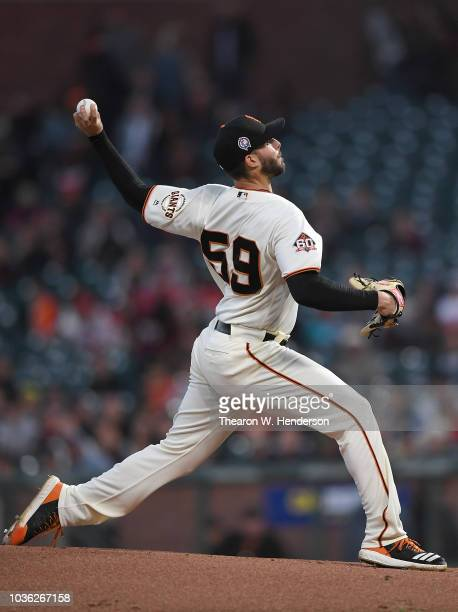 Andrew Suarez of the San Francisco Giants pitches against the Atlanta Braves in the top of the first inning at ATT Park on September 11 2018 in San...