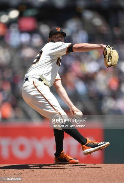 Andrew Suarez of the San Francisco Giants pitches against the Milwaukee Brewers in the top of the first inning at ATT Park on July 29 2018 in San...