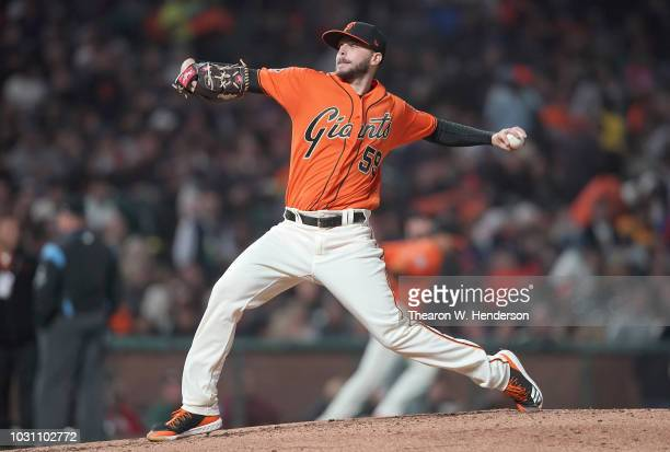 Andrew Suarez of the San Francisco Giants pitches against the New York Mets in the top of the fourth inning at ATT Park on August 31 2018 in San...