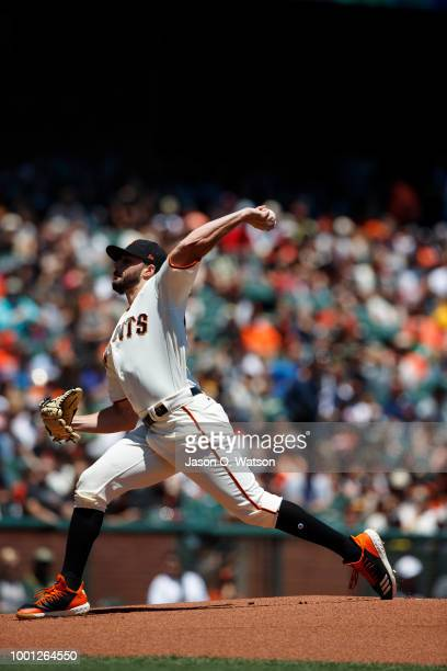 Andrew Suarez of the San Francisco Giants pitches against the Oakland Athletics during the first inning at ATT Park on July 15 2018 in San Francisco...