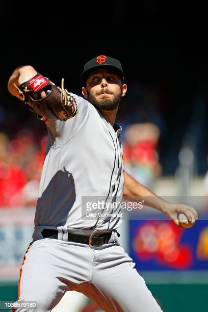 Andrew Suarez of the San Francisco Giants pitches against the St Louis Cardinals in the first inning at Busch Stadium on September 23 2018 in St...