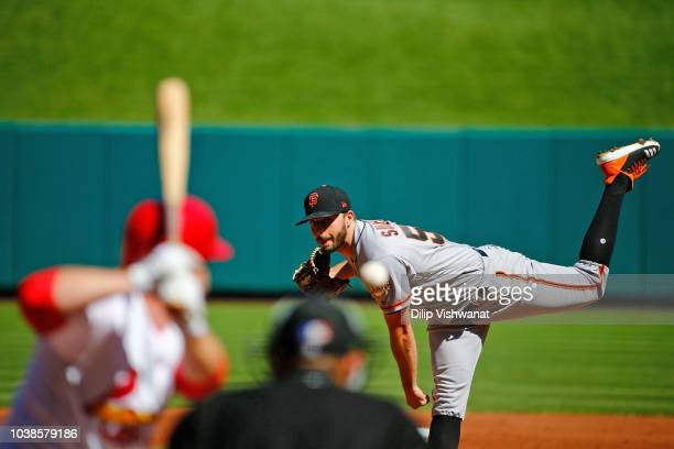 Andrew Suarez of the San Francisco Giants pitches against the St Louis Cardinals in the second inning at Busch Stadium on September 23 2018 in St...