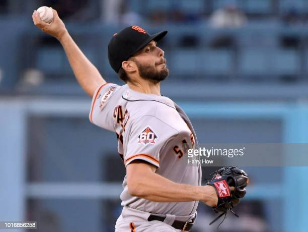 Andrew Suarez of the San Francisco Giants pitches during the first inning against the Los Angeles Dodgers at Dodger Stadium on August 14 2018 in Los...