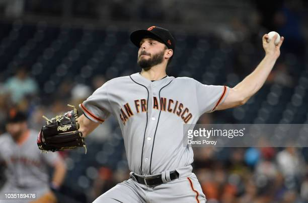 Andrew Suarez of the San Francisco Giants pitches during the first inning of a baseball game against the San Diego Padres at PETCO Park on September...