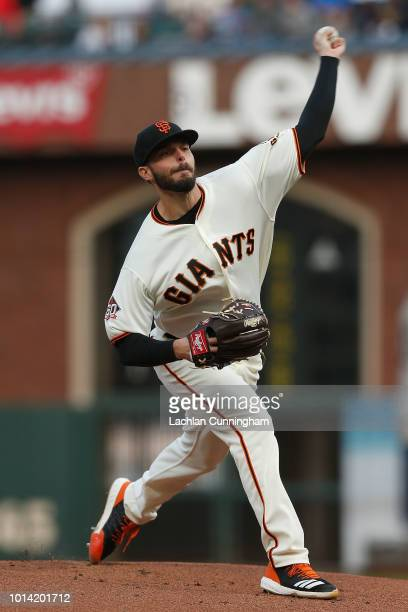 Andrew Suarez of the San Francisco Giants pitches in the first inning against the Pittsburgh Pirates at ATT Park on August 9 2018 in San Francisco...