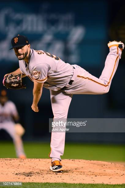 Andrew Suarez of the San Francisco Giants throws a pitch in the first inning of a baseball game against the Colorado Rockies on September 5 2018 at...