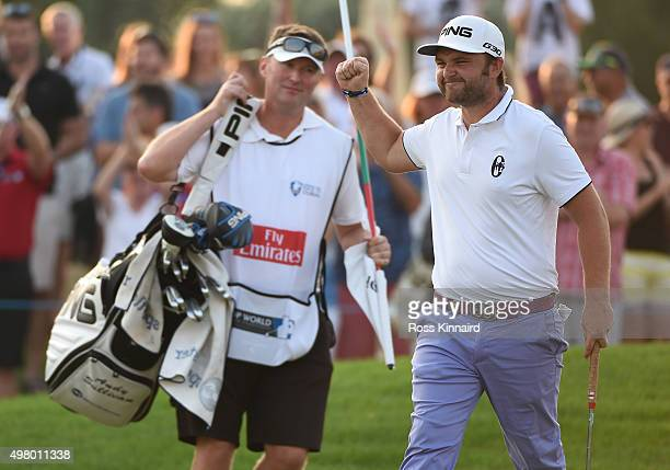 Andrew Sullivan of England on thecelebrates after his birdie putt on the 18th green during the second round of the DP World Tour Championship on the...