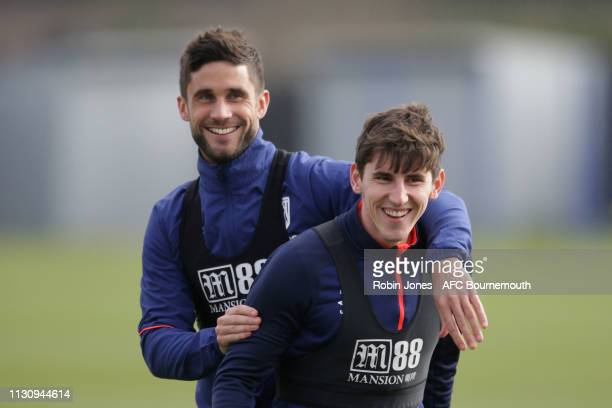 Andrew Surman and Emerson Hyndman of AFC Bournemouth during a training session at Vitality Stadium on February 20 2019 in Bournemouth England