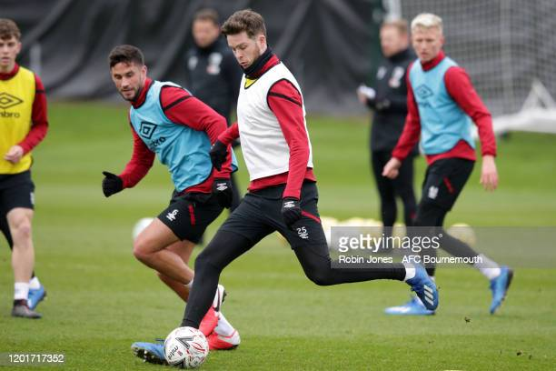 Andrew Surman and Jack Simpson of Bournemouth during a training session at Vitality Stadium on January 24 2020 in Bournemouth England