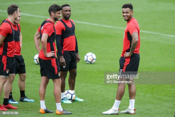 Andrew Surman Jermain Defoe and Joshua King of Bournemouth during training on April 24 2018 in Bournemouth England