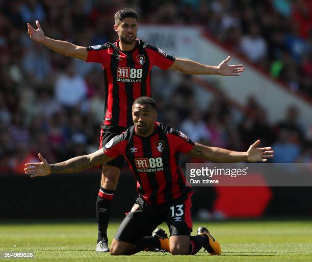Andrew Surman of AFC Bournemouth and Callum Wilson of AFC Bournemouth appeal for a foul during the Premier League match between AFC Bournemouth and...