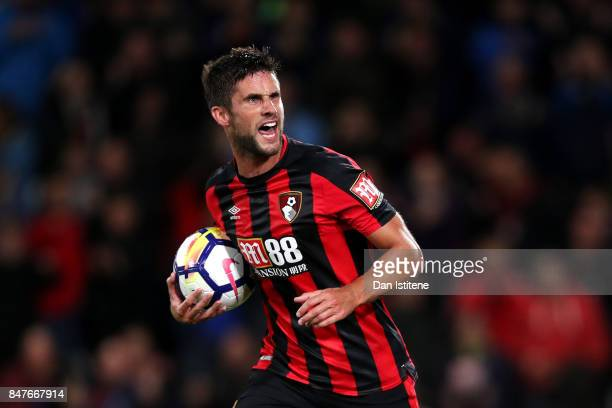 Andrew Surman of AFC Bournemouth celebrates after scoring his team's first goal during the Premier League match between AFC Bournemouth and Brighton...