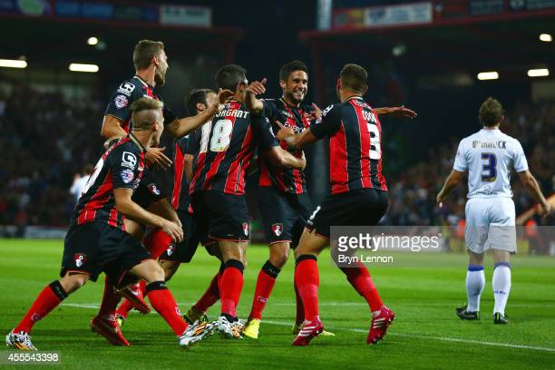 Andrew Surman of AFC Bournemouth celebrates with his team scoring the opening goal during the Sky Bet Championship match between AFC Bournemouth and...