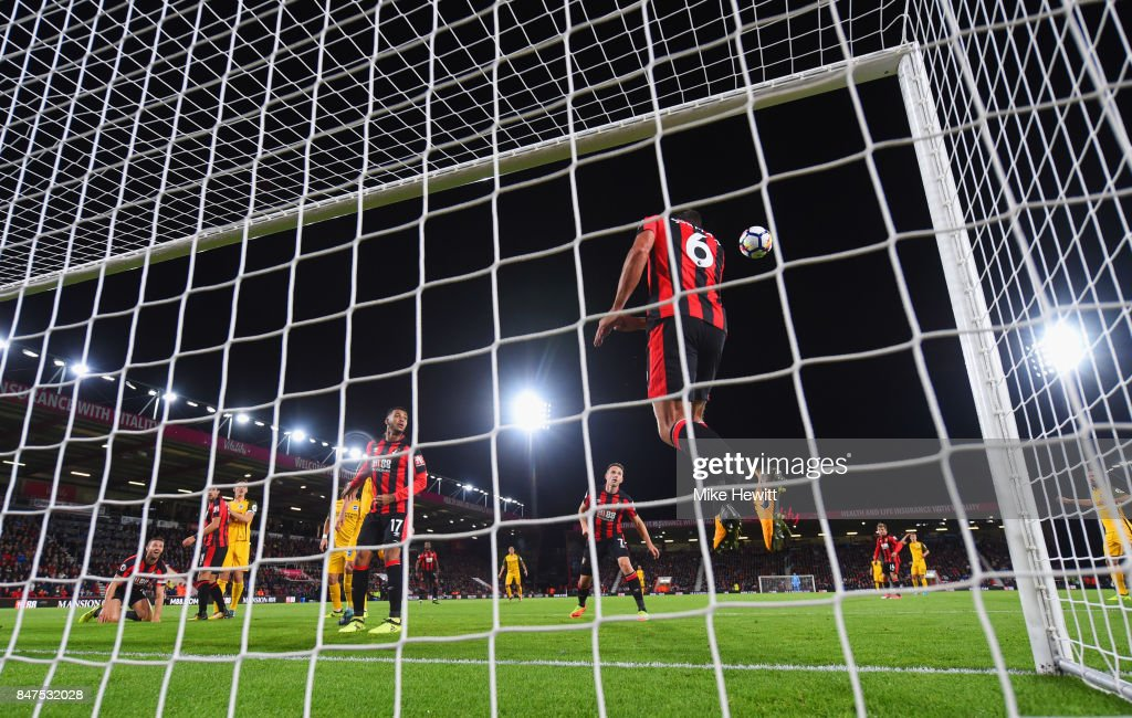 Andrew Surman of AFC Bournemouth (6) clears a header by Shane Duffy of Brighton and Hove Albion (not pictured) off the line during the Premier League match between AFC Bournemouth and Brighton and Hove Albion at Vitality Stadium on September 15, 2017 in Bournemouth, England.
