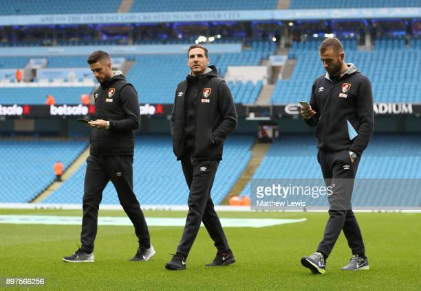 Andrew Surman of AFC Bournemouth Dan Gosling of AFC Bournemouth and Steve Cook of AFC Bournemouth take a look around the pitch prior to the Premier...