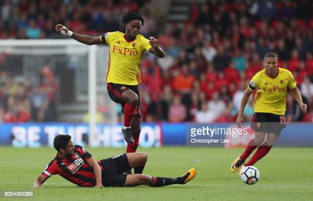 Andrew Surman of AFC Bournemouth tackles Nathaniel Chalobah of Watford during the Premier League match between AFC Bournemouth and Watford at...