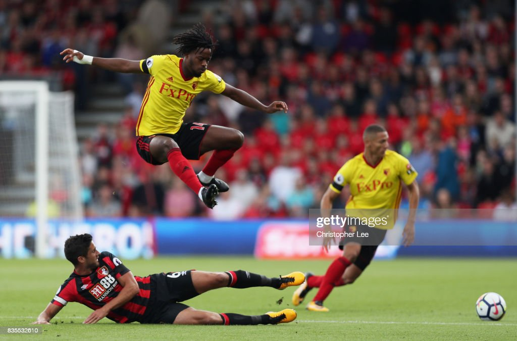 Andrew Surman of AFC Bournemouth tackles Nathaniel Chalobah of Watford during the Premier League match between AFC Bournemouth and Watford at Vitality Stadium on August 19, 2017 in Bournemouth, England.