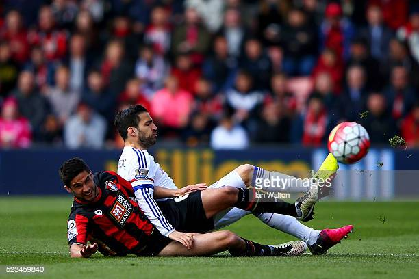 Andrew Surman of Bournemouth and Cesc Fabregas of Chelsea are involved in a tackle during the Barclays Premier League match between AFC Bournemouth...