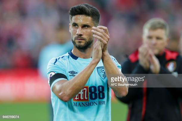 Andrew Surman of Bournemouth during the Premier League match between Liverpool and AFC Bournemouth at Anfield on April 14 2018 in Liverpool England