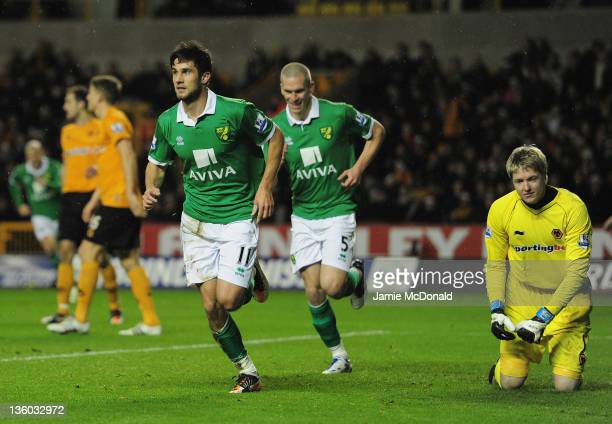 Andrew Surman of Norwich City celebrates his goal during the Barclays Premir League match between Wolverhampton Wanderers and Norwich City at...